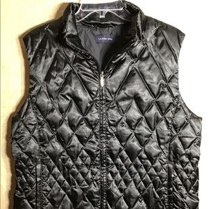 LANDS' END Black Quilted DOWN Puffer Vest